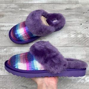 UGG Kids Cozy II Rainbow Sheepskin Slide Slippers